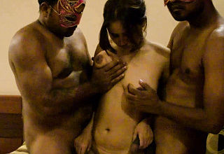 Open minded inexperienced Indian Bhabhi having a 3 way Bang out